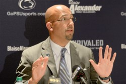 Penn State coach James Franklin, pictured here at a Coaches Caravan event in Cranberry earlier this month, said this week he plans to use Penn State's high cost of attendance as a recruiting advantage.