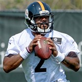 Steelers quarterback Tajh Boyd practices during rookie minicamp on the South Side in May.