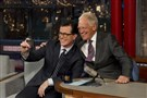 Stephen Colbert, successor to David Letterman come fall, takes a selfie with the host.