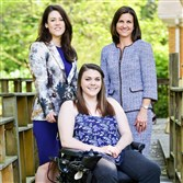 Claire Senita, 23, suffered a spinal cord injury at 14. She is now working with Merrill Lynch employees Helen Sims, left, a financial adviser, and Jennifer Haggerty, right, senior vice president of wealth management. Ms. Senita is hoping to start a Pittsburgh chapter of Journey Forward.
