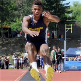 Apollo-Ridge's Tre Tipton is headed to Pitt for football, but was just as impressive at the WPIAL track championships Thursday at Baldwin.