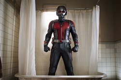 "Paul Rudd suits up as a Marvel superhero, portraying Scott Lang in ""Ant-Man."""