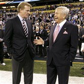 In this Feb. 5, 2012, file photo, NFL Commissioner Roger Goodell, left, talks with New England Patriots owner Robert Kraft before Super Bowl XLVI.