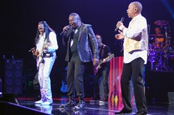 Earth, Wind & Fire members Verdine White, Philip Bailey and Ralph Johnson at the Benedum Center in 2015.