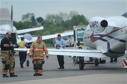 An airplane en route to Ft. Lauderdale, Fla., landed safely at the Allegheny County Airport, shortly after taking off and developing a flat tire.