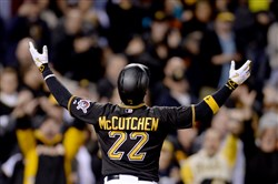 Pirates' Andrew McCutchen looks to the crowd after tying the game against the Twins in the eighth inning Wednesday, May 20, 2015, at PNC Park.