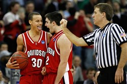 The Davidson starting backcourt of Stephen Curry, left, and Jason Richards combined to average 38 points, 11 assists and 8 rebounds a game in 2007-08.