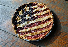 A Flag Pie made with blueberries and rhubarb-strawberry.