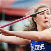 Connellsville's Madison Wiltrout competes in the javelin at the PIAA State Track & Field Championships at Shippensburg University, launching a meet record 182 feet, eight inches on her first throw of the competition.