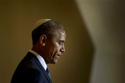 President Barack Obama speaks Friday at the Adas Israel Congregation in Washington, D.C.