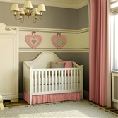 Olympic Paints presents gray walls in Ashen with a feature stripe in Mother of Pearl, with accessories in Rose Petal.