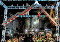 "NBC's ""American Ninja Warrior"" films its show in Swissvale at the Carrie Furnace on Friday."
