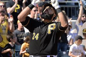 Pirates third baseman Pedro Alvarez crosses home plate after homering against the Mets' Matt Harvey at PNC Park.