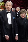"In March 2002, John Nash, left, and his wife Alicia arrive at the 74th annual Academy Awards in Los Angeles. Mr. Nash, the Nobel Prize-winning mathematician whose struggle with schizophrenia was chronicled in the 2001 movie ""A Beautiful Mind,"" died in a car crash along with his wife in New Jersey on Saturday."