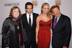 "In this Oct. 7, 2008, file photo, from left, Actors Anne Meara, Ben Stiller, Christine Taylor and Jerry Stiller attend the 11th Annual Project A.L.S. ""Tomorrow is Tonight"" benefit gala in New York."