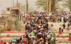 Hundreds of displaced citizens of Ramadi make their way into Baghdad.
