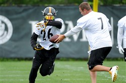 Ben Roethlisberger hands off to Le'Veon Bell on May 26, 2015 at OTAs.