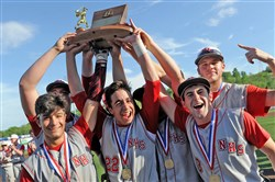 Neshannock teammates hold their trophy after defeating Quaker Valley in the WPIAL Class AA baseball championship at Consol Energy Park in Washington Tuesday.