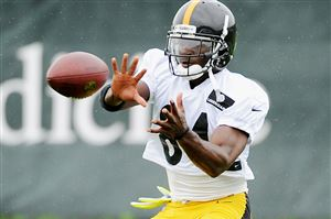 Steelers wide receiver Antonio Brown makes a catch during OTAs.