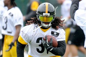 Steelers running back DeAngelo Williams runs the ball during OTAs.