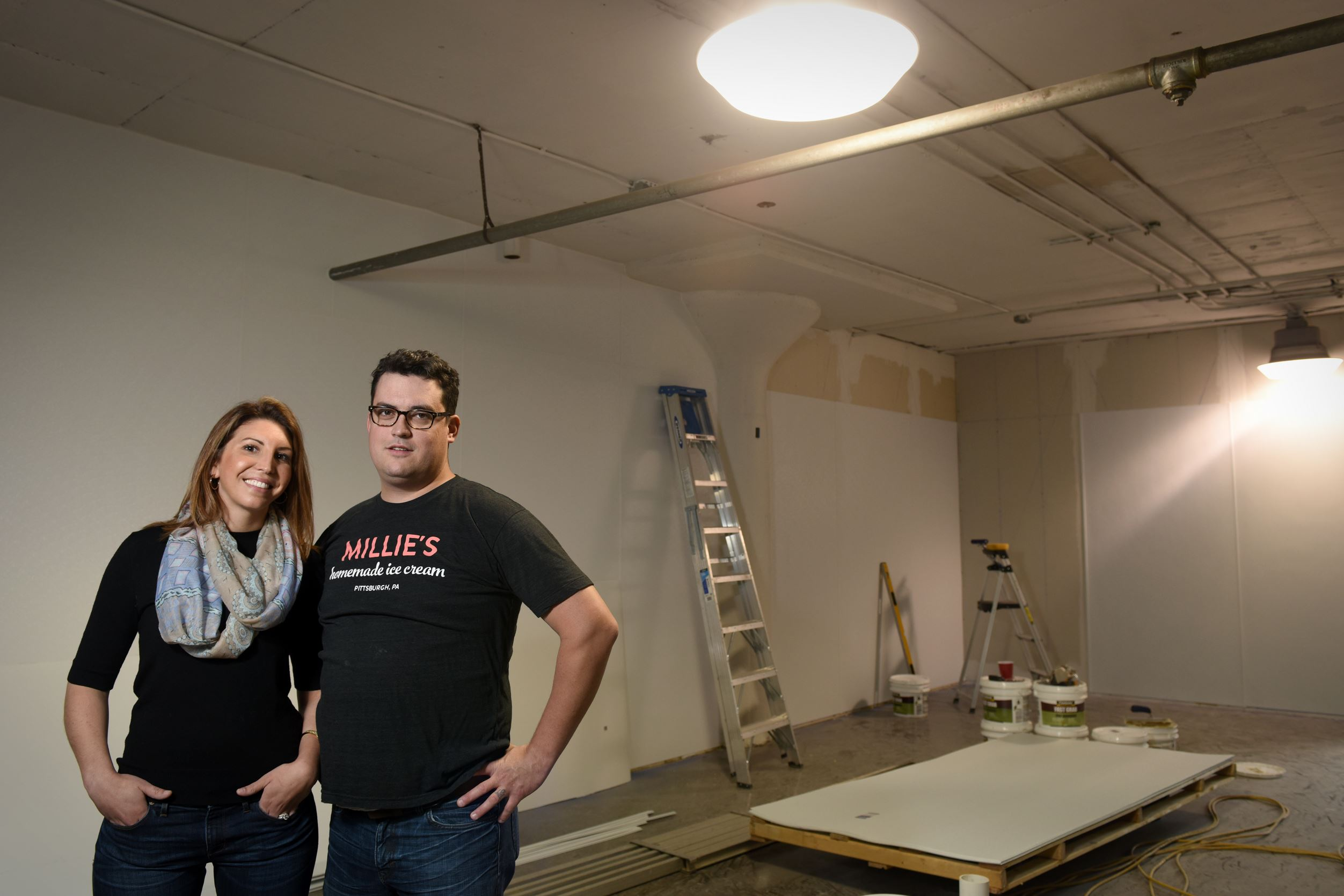 Lauren and Chad Townsend Lauren and Chad Townsend founded Millie's Homemade Ice Cream, which will soon occupy this space in a mural-covered building on Lynn Way in North Point Breeze.