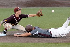 Greensburg Central Catholic's Cole Reese slides safely into third base against California's Alex Adams in the WPIAL Class A baseball championship at Consol Energy Park in Washington.