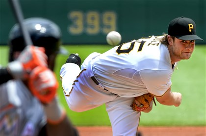 Pirates right-hander Gerrit Cole went seven innings, scattering six hits and seven strikeouts against the Marlins.