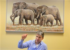 Thomas Hildebrandt, director of reproduction management at the Leibniz Institute for Zoo and Wildlife in Berlin, speaks Thursday at the Pittsburgh Zoo & PPG Aquarium.