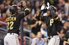 Andrew McCutchen celebrates with Starling Marte after Marte's two-run home run against San Diego Padres during the third inning Thursday.