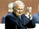 FIFA President Sepp Blatter gestures after he was re-elected at the 65th FIFA Congress in Zurich, Switzerland, today.