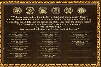 The bronze plaque, to be located in the lobby of the City-County Building on Grant Street, would list the name, rank, branch of service and date of death of local soldiers who died in action.
