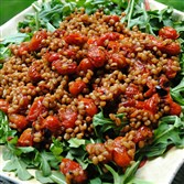 Spelt Berry and Pomegranate Tomato Salad.