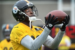 Pittsburgh Steelers cornerback Cortez Allen hauls in pass during an offseason training session in June 2015 on the South Side.