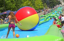 Slide the City, a 1,000-foot-long water slide featured in South Park this weekend.