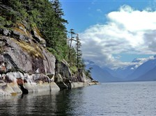 Snow-capped Mt. Churchill, right, greets visitors traveling to Princess Louisa Inlet, British Columbia.