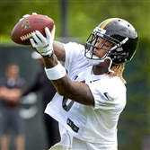 Steelers wide receiver Martavis Bryant makes a catch during OTA's last month at the Steelers South Side facility.