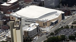 An aerial view of the Consol Energy Center.