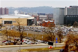 The site of the old Civic Arena with PPG Paints Arena, formerly the Consol Energy Center.