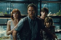 "From left, Claire (Bryce Dallas Howard) , Owen (Chris Pratt), Zach (Nick Robinson) and Gray (Ty Simpkins) watch in terror in Steven Spielberg's ""Jurassic World."" The film tops the list of season's box office winners."
