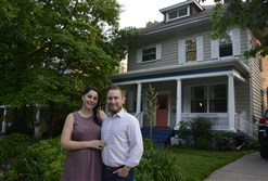 Erin and Geoffrey Smith stand in front of their home at  4022 Northminster St. in Brighton Heights. The Foursquare is on this Sunday's Brighton Heights House and Garden Tour.