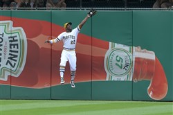 Andrew McCutchen made one of several excellent defensive plays for the Pirates Sunday.