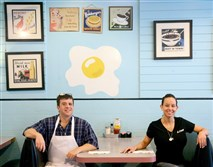 John and Lisa Pasqualino, owners of Eggs-R-Us on Noblestown Road, at their diner on Friday.
