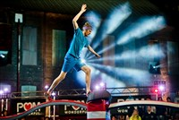 "Mt. Lebanon's Danny Johnson solves the riddle of Snake Crossing on NBC's ""American Ninja Warrior"" during the broadcasdt from the Carrie Furnace."