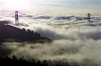 Fog shrouds the Golden Gate Bridge and the Marin Headlands near Sausalito, Calif.