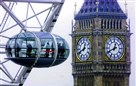 The London Eye wheel gives passengers a bird's eye view of the city, including Big Ben.