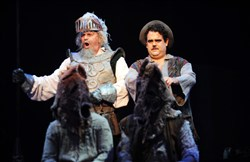 "Ron Raines as Don Quixote and Greg Hildreth as Sancho in Pittsburgh CLO production of ""Man of La Mancha."""