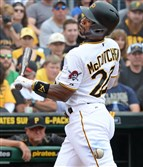 Andrew McCutchen left this afternoon's game early after being hit in the left elbow by Brave's pitcher Julio Teherán's fastball in the first inning of play.