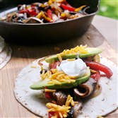 Portobello Soft Tacos are low in fat but at the same time provide a satisfying meat substitute.
