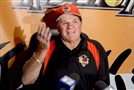 Former Reds player Pete Rose talks to reporters during a press conference before the start of the Washington Wild Things game against the Lake Erie Crushers Tuesday at Consol Energy Park.