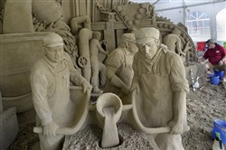 The steelworkers sand sculpture is now on display at the EQT Pittsburgh Three Rivers Regatta in Point State Park. The regatta starts Friday.